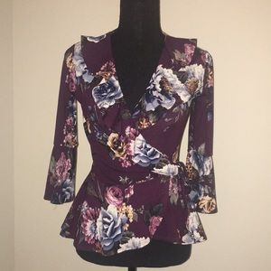 BCX Tops - BCX Floral Print Bell Sleeve Blouse